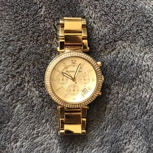 Women's MICHAEL KORS Gold watch w/crystals bezel